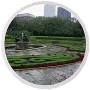 Summer Rain In The Conservatory Garden Round Beach Towel