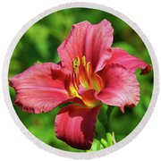 Summer Red Lily Round Beach Towel