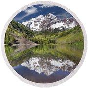 Maroon Bells Aspen Colorado Summer Reflections Round Beach Towel