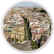 Summer Rooftops In Seville Spain Round Beach Towel