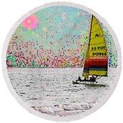 Summer Sailin Round Beach Towel