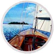 Summer Sailing Round Beach Towel