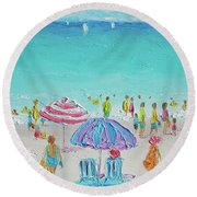 Summer Scene Diptych 1 Round Beach Towel