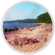 Summer Shores Of Lake Superior Round Beach Towel