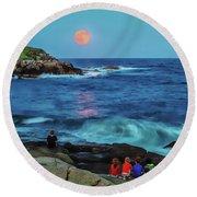 Summer Solstice Strawberry Moon Round Beach Towel
