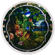 Summer Stained Glass Panel Round Beach Towel