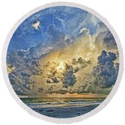 Summer Storms In The Gulf Round Beach Towel
