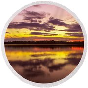 Summer Sunset 1 Round Beach Towel