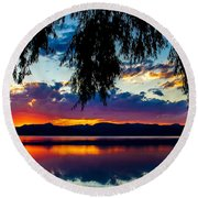 Sunset At Agency Lake, Oregon Round Beach Towel