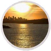 Summer Sunset In Sydney Round Beach Towel