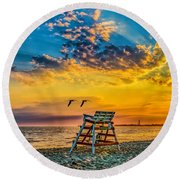 Summer Sunset On The Beach Round Beach Towel