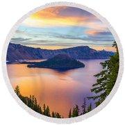 Sunset At Crater Lake, Oregon Round Beach Towel