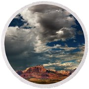 Summer Thunderstorm Clouds Form Over West Temple Zion National Park Utah Round Beach Towel
