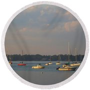 Summer Time At Little Neck Bay Round Beach Towel