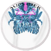 Summer Time Tropical  Round Beach Towel