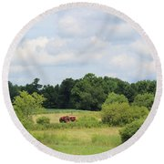 Summer Tractor In Field Corinna Maine Round Beach Towel