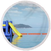 Summer Vacation Scene With Water Slide  Round Beach Towel