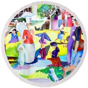 Summer With In The Park With George Round Beach Towel