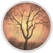 Summerland Light In Winter Round Beach Towel
