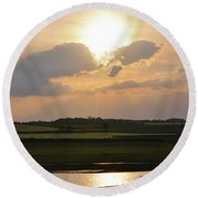 Summers Evening In North Yorkshire Round Beach Towel