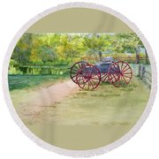 Summertime At The Barn Round Beach Towel