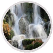 Summit Creek Waterfalls Round Beach Towel