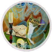 Summoning Old Friends - Ghost Cats Magic Round Beach Towel