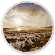 Sun Above Lake Argentino Round Beach Towel