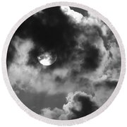 Sun And Clouds - Grayscale Round Beach Towel