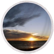 Sun And Clouds Round Beach Towel