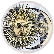 Sun And Moon, 1493 Round Beach Towel