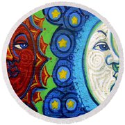 Sun And Moon Round Beach Towel