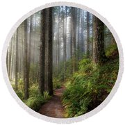 Sun Beams Along Hiking Trail In Washington State Park Round Beach Towel