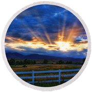 Sun Beams In The Sky At Sunset Round Beach Towel