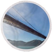 Sun Beams Through The Golden Gate Round Beach Towel