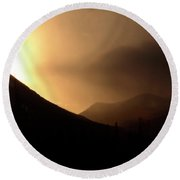Sun Behind Clouds In Rocky Mountains Of Alberta Canada Round Beach Towel