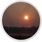 Sun Burning Off Fog In June Round Beach Towel