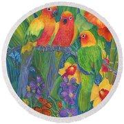 Sun Conure Parrots Round Beach Towel