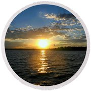Sun Down Day Round Beach Towel