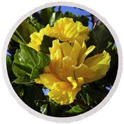 Sun-drenched Yellow Hibiscus Round Beach Towel