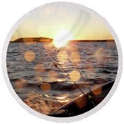 Sun Drops  Round Beach Towel