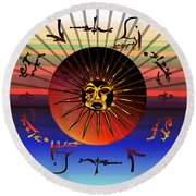 Sun Face Stylized Round Beach Towel by Robert  G Kernodle