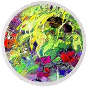 Sun Flower Bouquet Round Beach Towel