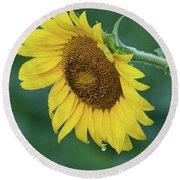 Sun Flower Drop Round Beach Towel