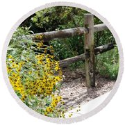 Sun Flower Fence Round Beach Towel