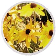 Sun Flower Glory Round Beach Towel