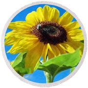 Sun Flower - Id 16235-142741-1520 Round Beach Towel