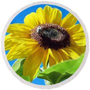 Sun Flower - Id 16235-142743-3974 Round Beach Towel