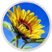 Sun Flower - Id 16235-142812-7136 Round Beach Towel