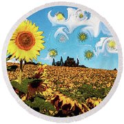Sun Flowers Field Round Beach Towel
